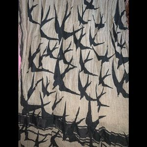 Leigh & Luca Olive Green & Black Birds Scarf (tag)